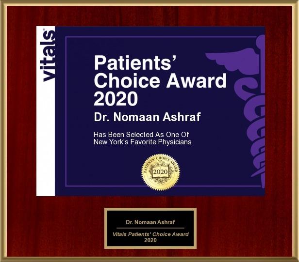 Nomaan Ashraf, MD, MBA Patients choice award 2020 Favorite New York's physician