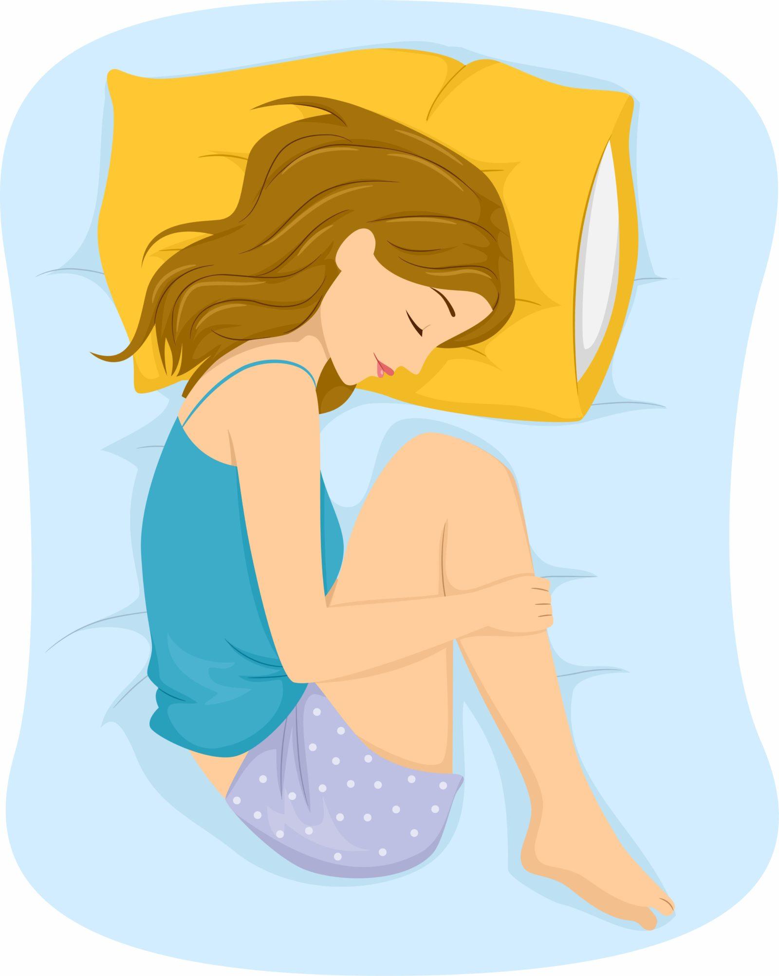 woman sleeping in fetal position