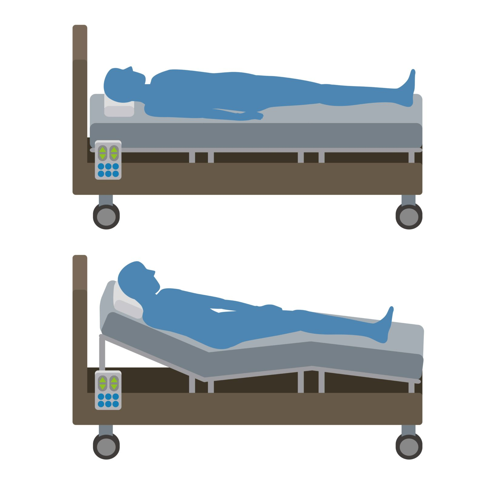 man lying in a regular bed and a reclining bed