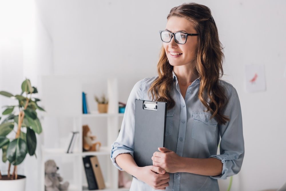 woman standing at work